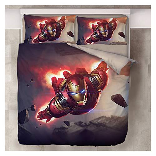 El Principito Impresión Digital Exclusiva Diseño De Doble Cara Dibujos Animados Marvel Iron Man Juego De Cama De Cuatro Piezas Cuatro Piezas Niños (Color : Iron manD, Size : King)
