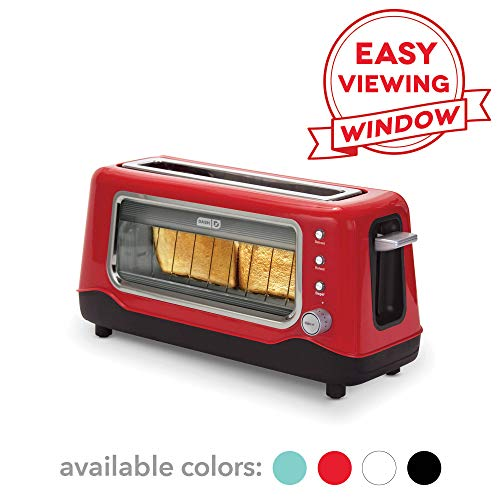 Dash DVTS501RD Clear View Extra Wide Slot Toaster with Stainless Steel Accents + See Through Window, Defrost, Reheat + Auto Shut Off Feature For Bagels, Specialty Breads & Other Baked Goods, Red