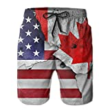 Jiger American and Canada Surfing Pocket Elastic Waist Men's Beach Pants Shorts Beach Shorts Swim TrunksXXL