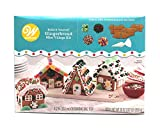Gingerbread House Kit Mini Village, Build It Yourself Fun For Christmas Thanksgiving Holiday Decorating, 1.87LB Kit Includes: 4 Sets Of House Panels, 4 Types Of Candies, Decorating Bag With Tip, Icing