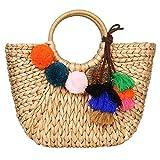 Summer Rattan Bag for Women Straw Hand-woven Top-handle Handbag Beach Sea Straw Rattan Tote Clutch Bags (Khaki Bag with Pendant)