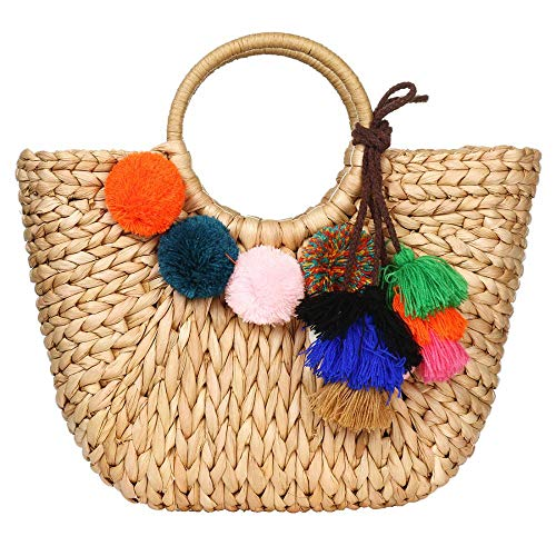 Summer Rattan Bag for Women Straw Hand-woven Top-handle Handbag Beach Sea Straw Rattan Tote Clutch Bags (Khaki Bag with Pendant)