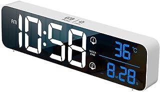 Patgoal LED Alarm Clocks,Charging Intelligent Voice Control Digital Led Home Calendar Living Room Electronic Wall Clock wi...