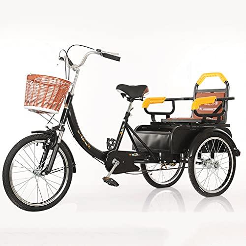 Triciclo de Adultos Triciclo Adulto Triciclo Para Adultos Bicicleta De Altura De Carbono Three Wheel Bike Cesta De Carga Bicicleta De Carreras Bicicleta Para Compras Picnic Deportes Al Ai(Color:black)
