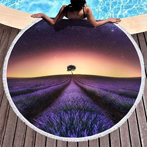 Toalla de Playa Redonda Gruesa con Estampado de árbol de Lavanda púrpura Debajo de un Cielo Estrellado con borlas Manta Divertida con Flecos Blanco 59 pulgadas-blanco-59 Pulgadas