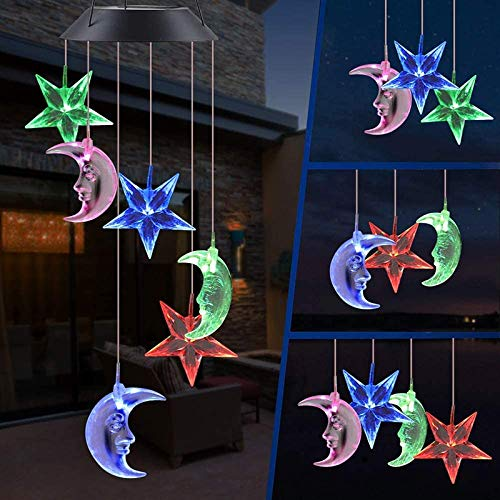 Kacoco LED Solar Moon and Star Wind Chime, Wind Chimes Outdoor Changing Color Waterproof Six Hanging Lights Wind Chimes Solar Mobile for Home Party Night Garden Decoration