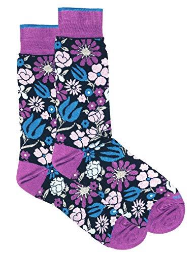 Duchamp London Socken mit Blumenmuster, Violett, Größe M / EU 40–42