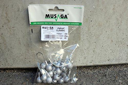 Musaga Jighaken Classic 4/0, Großpackung // 25 Jigköpfe // Viele Gewichte verfügbar, 10 Gramm
