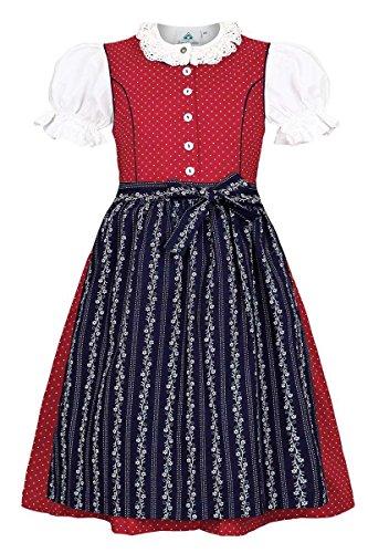 Isar-Trachten Mädchen Kinderdirndl mit Bluse rot, ROT, 80