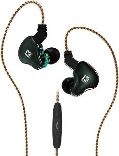 KBEAR KS2 イヤホン 重低音 高品質インイヤーモニター 10mm複合振動版ダイナミックを搭載した1BA+1DDハイブリッド イヤホン バランス良く ややドンシャリ傾向 TFZタイプ2pin仕様 (KS2 緑 with microphone)