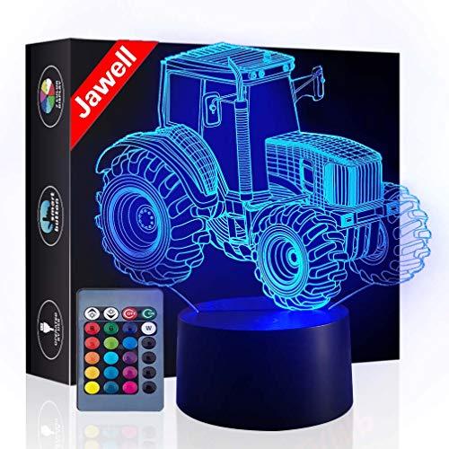 Traktor 3D Illusion Lampe Muttertagsgeschenk Nachtlicht neben Tischlampe, Jawell 16 Farben Auto Ändern Touch Schalter Schreibtisch Dekoration Lampen Geburtstag Weihnachtsgeschenk