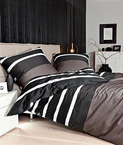 Janine Mako Satin Bettwäsche 4 teilig Bettbezug 155 x 220 cm Kopfkissenbezug 80 x 80 cm Nougat schwarz Streifen