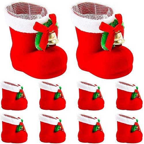 JPYH 10 Pezzi di Regali per la Decorazione di Stivali di Babbo Natale, Ciondolo per Scarpe con Custodia per Penna Natalizia, Borsa per Albero di Natale, Decorazione per Albero di Natale Rosso