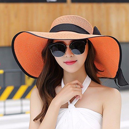 Women's Beach Hut Schattierung Strohhut Kinder im Sommer Sonnencreme SUNCAP Badeurlaub falten können, Schwarz-Orange (16)