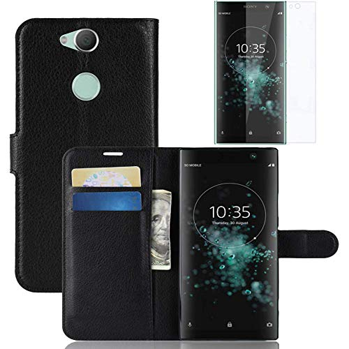 Sony Xperia XA2 Plus Hülle, Xperia XA2 Plus Lederhülle, Xperia XA2 Plus Book Flip Leder Wallet Cover mit Kartenschlitzen mit [HD] gehärtetem Glas Bildschirmschutzfolie für Sony Xperia XA2 Plus (schwarz)