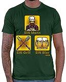Hariz - Camiseta de manga corta para hombre, diseño con texto en alemán verde oscuro L