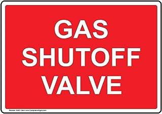 Gas Shutoff Valve Sign, 7x5 inch Aluminum for Emergency Response Hazmat by ComplianceSigns
