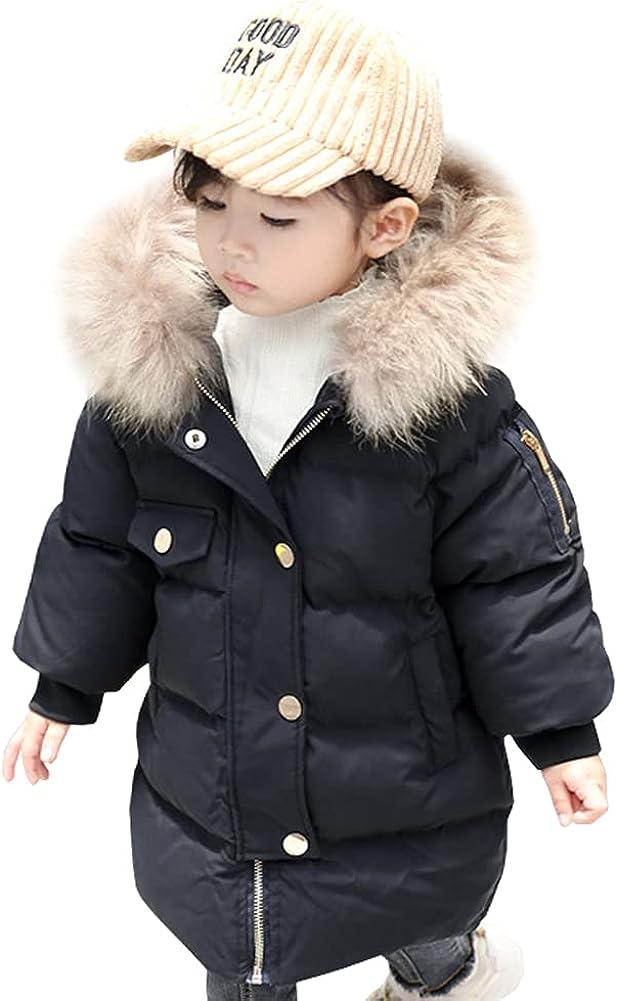 LPATTERN Baby Girl Winter Coats,Thicken Fur Collar Hoodie Down Medium Length Jacket Windproof Snowsuit Clothing