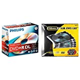 Philips DVD+R DR8S8J05C DVD+R DL 8.5 GB, 240 min, Velocidad 8X + Fellowes 98316 Pack de 25 Cajas Estuche para CDs/DVDs Slim, Transparente