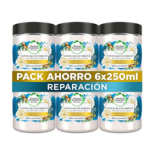 Herbal Essences bio:renew Mascarilla Reparación Aceite De Argán De Marruecos 6 x 250ml, con ph neutro e ingredientes naturales