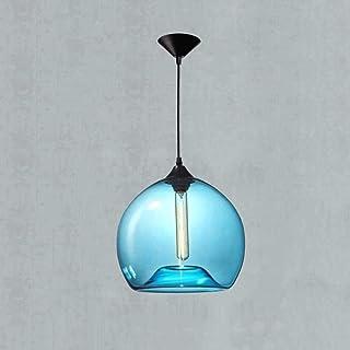HSLJ1 Lámparas de techo de moderna, soplado a mano azul de la burbuja de la lámpara colgante de cristal comedor Habitación Barn simple almacén Loft Bar Iluminación colgantes Isla de cocina de techo de