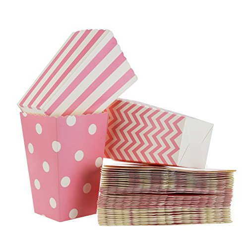 FLOWOW Scatole di Popcorn 36PCS Scatola degli spuntini Contenitori di Popcorn Contenitori di Caramelle per Spuntini del Partito, Dolci, Popcorn e Regali,Stoviglie monouso, Festa del Neonato Rosa