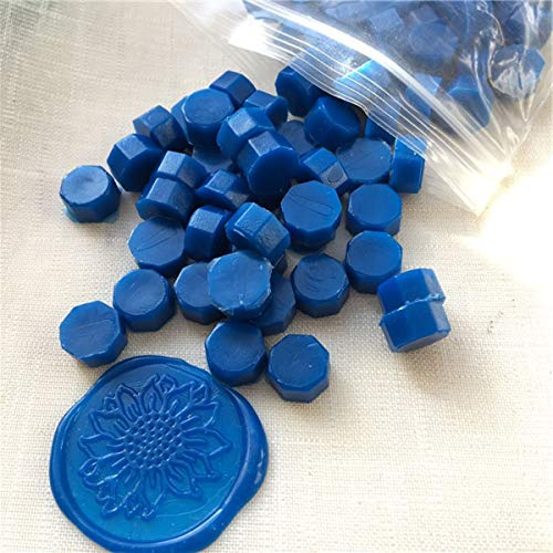 Mishiner 100 unids Sellado de Perlas de Cera, Sello de Cera Vintage Sello de Sello de la Tableta Pastillas de la píldora para el sobre de la Boda Sello de Cera Antiguo Sellado de Cera Azul Oscuro