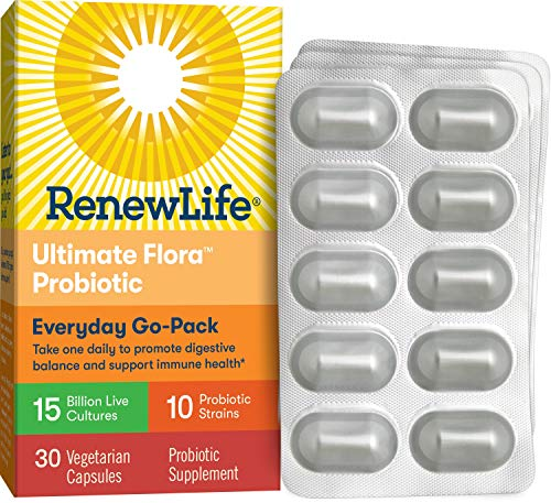 Renew Life Adult Probiotic - Ultimate Flora Everyday Go-Pack Probiotic Supplement - Shelf Stable, Gluten, Dairy & Soy Free - 15 Billion CFU - 30 Vegetarian Capsules