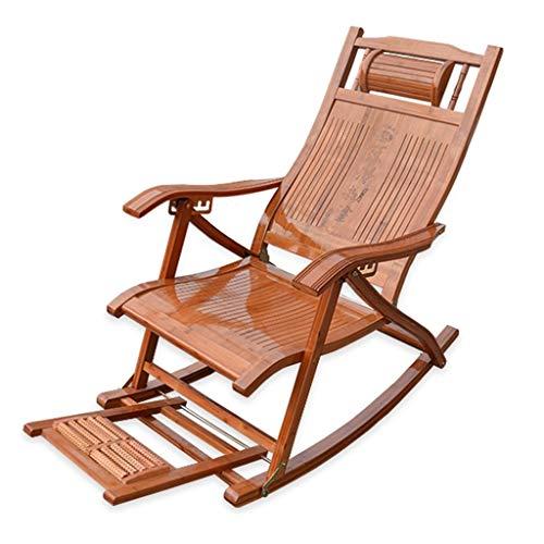 SjYsXm-Chaise longue Fauteuil à Bascule en Bambou Durable Fauteuil à Bascule Fauteuil Relax Confortable avec Fauteuil et Repose-tête et Repose-Pieds massable (Couleur : B)