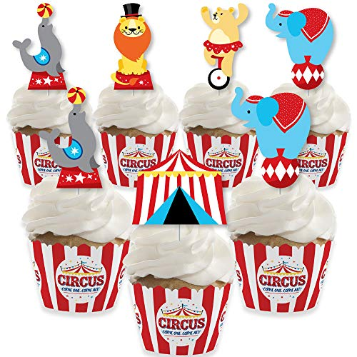 Big Dot of Happiness Carnival - Step Right Up Circus - Cupcake Decoration - Carnival Themed Party Cupcake Wrappers and Treat Picks Kit - Set of 24