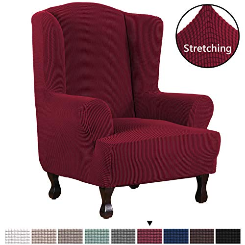 H.VERSAILTEX High Stretch Jacquard, 1 Piece Wingback, Chair Cover, Burgundy Red, Couch Covers, Lycra Furniture, Machine Wash, Spandex Sofa, Covers, Wing Chair, Slipcover