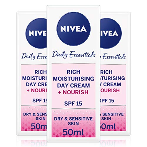 NIVEA Face Cream Rich Moisturiser for Dry & Sensitive Skin Pack of 3(3 x 50ml), Nourishing Day Cream with Shea Butter and SPF 15, Skin Care Essentials