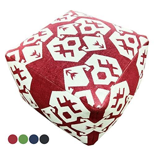 Soma Kelim Pouf vloerkussen zitkubus poef voetenbank Mexico 55x37x55 cm handbedrukt 4 kleuren (BxHxL) 55 x 37 x 55 cm rood - vintage rood