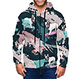 LX-LINK Skateboard French Bulldog Mens Zip Up Hoodie Casual Drawstring Hooded Sweatshirt Jacket