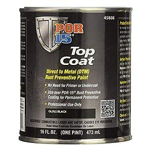 POR-15 45808 Top Coat Gloss Black Paint 16 fl. oz.