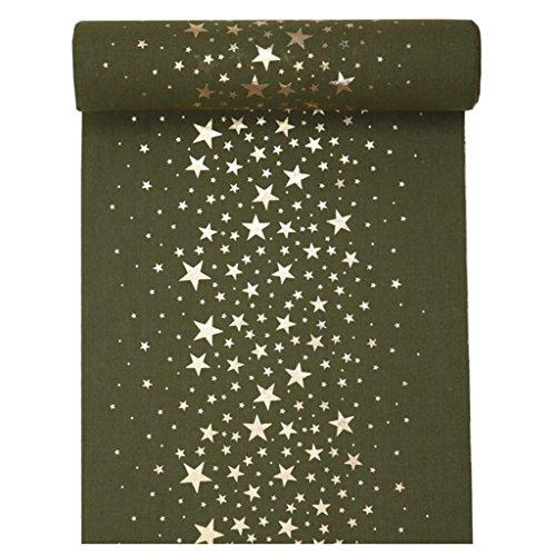 Tafelloper metallic sterren kaki-goud 28cm x 3m tafelband tafeldecoratie bruiloft
