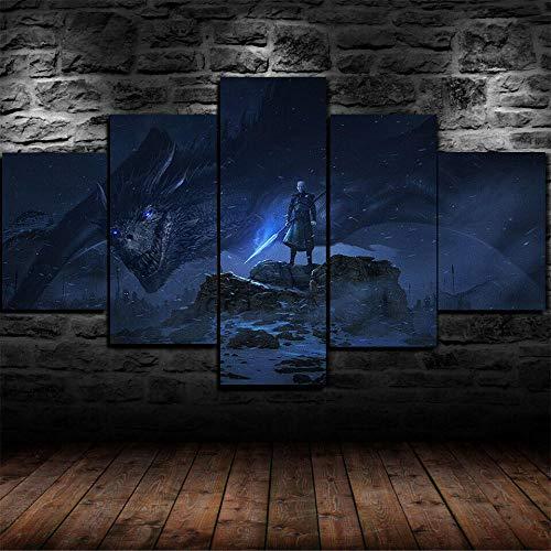 YUANJUN 3D Leinwanddrucke,Modulare Wandkunst Wandaufkleber,5 Teiliges Wandbild,Mit Rahmen,Größe 150 X 80 cm Leinwandbild, Wandbilder XXL Dragon Night Game of Thrones