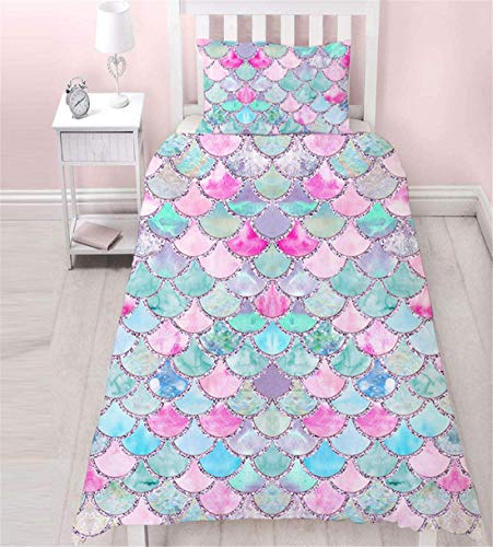MUSOLEI Mermaid Single Bedding Set Girls,3D Blue Duvet Cover Sets Pink Lovely Quilt Cover Soft,Microfiber Zipper,with Pillowcase(Mermaid,Single)