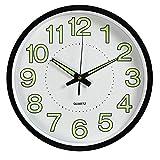 Tebery - Reloj de pared de 30 cm de diámetro, sin ruido de tictac, visible por la noche: reloj de pared que brilla en la oscuridad