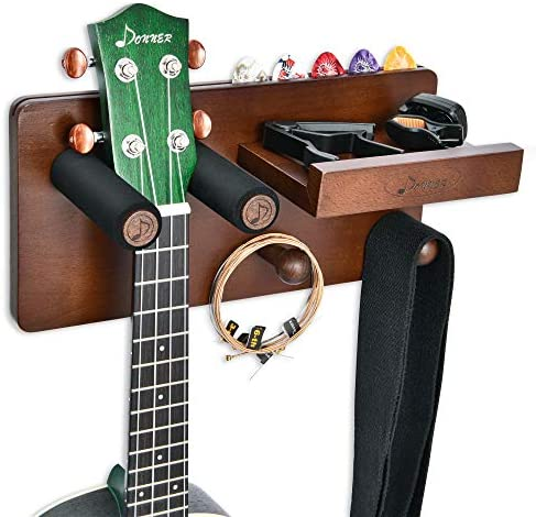 Donner Guitar Wall Mount Shelf Guitar Wall Hanger with Storage Shelf Pick Holder and 2 Hook product image