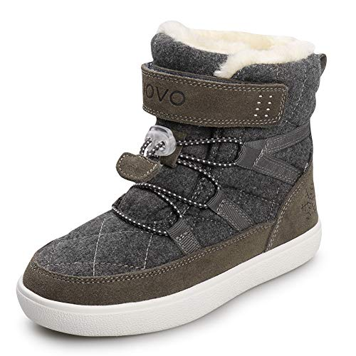 UOVO Kids Boys Winter Snow Boots Shoes Waterproof Ankle Fur Lined Sneaker Boots Outdoor Sport Little Boys Boots (4.5 M US Big Kid,Grey-Fur)