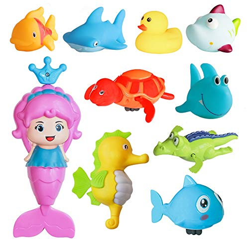 ZHIHAN 10 Pack Mermaid Bath Toys for Toddlers Boys Girls   Floating Wind Up Bathroom Sea Animals Toys Sets  Safe and Non-Toxic Squeaky Rubber Water Toys  Colorful Shower Bathtub Squirt Toys