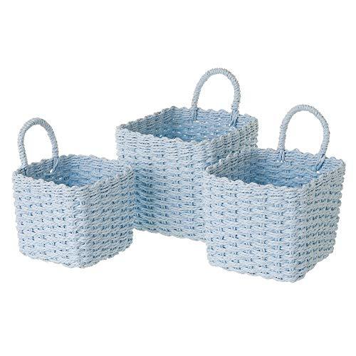 Set de 3 cestas de Fibra de Papel Azules cuadradas con asa - LOLAhome