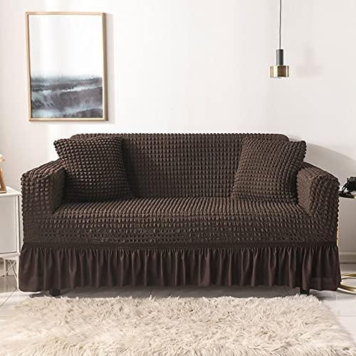 PPOS Funda de sofá con Falda Sofá seccional Europeo Fundas de sofá para Sala de Estar Sillón Fundas de sofá Elastic Stretch A1 4 Asientos 235-300cm-1pc