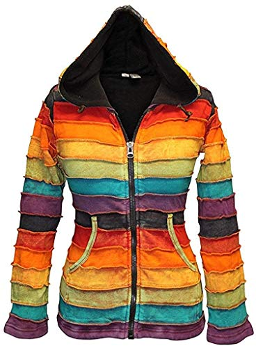 SHOPOHOLIC FASHION Stonewashed Fleecefutter Damen Rainbow Hippie Jacke - Multi, M