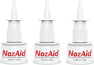 Nasal Moisturizer Spray (3 Pack) with Sesame Oil .34 Ounce - Moisturizing Lubricant for Dry Nose, Crusty, Cracked, Stuffy Nose Relief, Nosebleeds - Fragrance and Preservative Free by NozAid