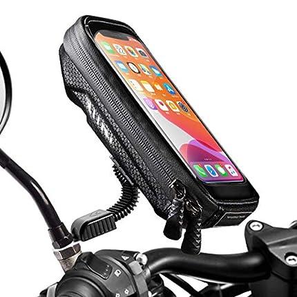 """WACCET [Nueva Generación Soporte Movil Moto Impermeable Moto Smartphone Soporte con Cubierta de Lluvia Soporte Movil Scooter para Teléfonos Inteligentes de Menos de 6.5"""""""