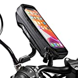 WACCET [New Generation Motorcycle Phone Mount Waterproof Motorbike Phone Holder with Rain Cover, 360°Rotation Motorbike Smartphone Holder for Phone up to 6.5'' (black)