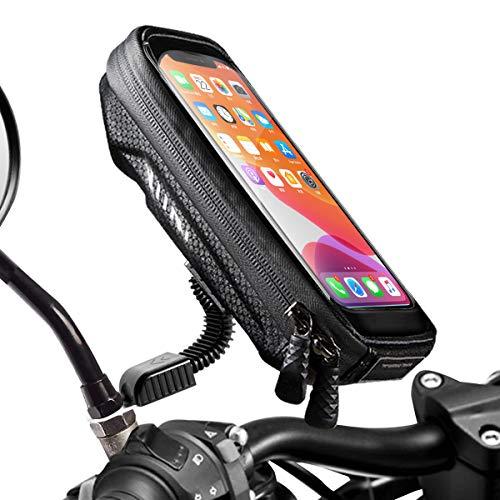 [Neue Generation] WACCET Motorrad Handyhalterung Wasserdicht Smartphone Halterung Motorrad 360°drehbar mit Regenschutz, Wasserdicht Motorrad Halterung für Smartphone bis zu 6,5