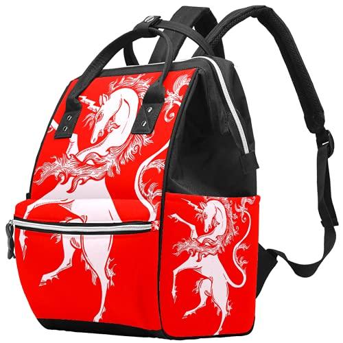 Mochila para portátil impermeable para pañales, bolsa de enfermería, bolsa de viaje, bolsa de viaje, multifunción, mochila para colegio, negocios, bolsa de médico, hortensias, flores, unicornio, rojo
